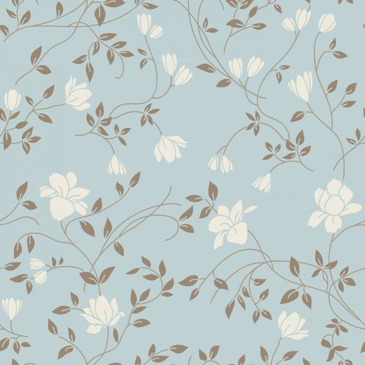 Papel de parede floral delicadas flores e ramos em cores azul e bege claro 013