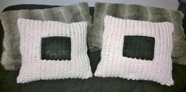 crocodile stitch and leather decorative pillow