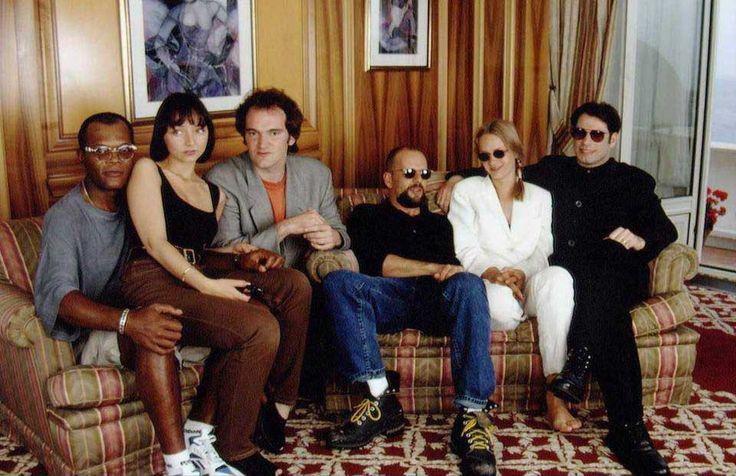 Samuel L. Jackson, Maria de Medeiros, Quentin Tarantino, Bruce Willis, Uma Thurman and John Travolta