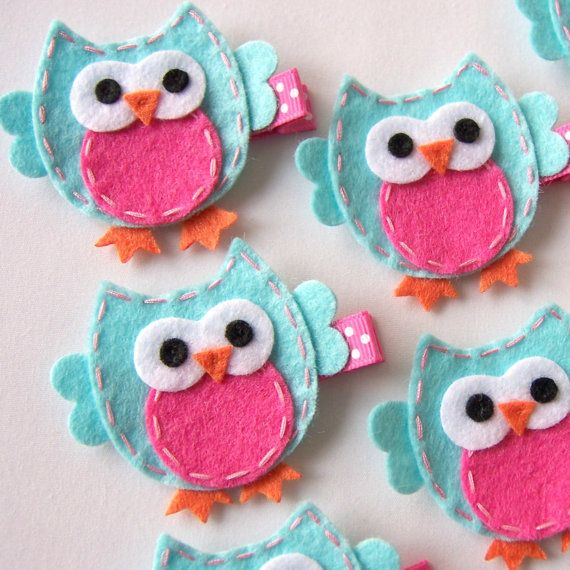 Aqua and Hot Pink Felt Owl Hair Clip - Cute Everyday Owl Felt Clippies - Birthday party favors  Masterpieces of fun art