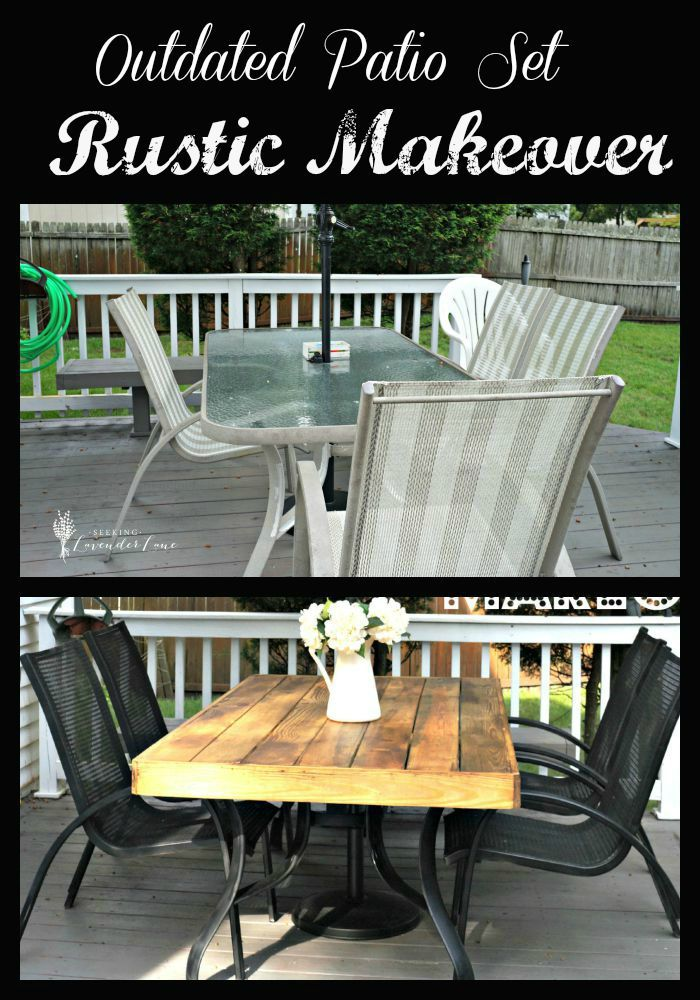 Outdated Patio Set Rustic Makeover... she bought a black and white striped umbrella and then redid the table and chairs! super smart! the top fits over the glass, would be perfect for those that their glass has broken!