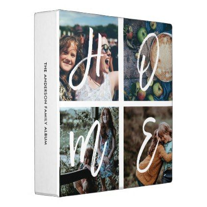 Custom Family Photo Collage Brush Script HOME Binder - script gifts template templates diy customize personalize special