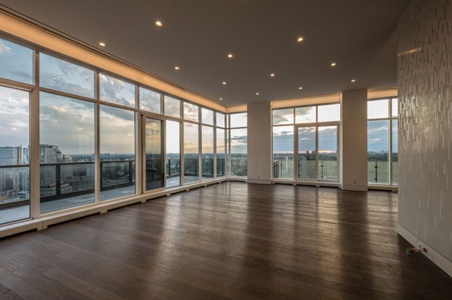 Living Room of Luxury Top Floor Penthouse at The Florian Condos Victoria Boscariol Chestnut Park Real Estate