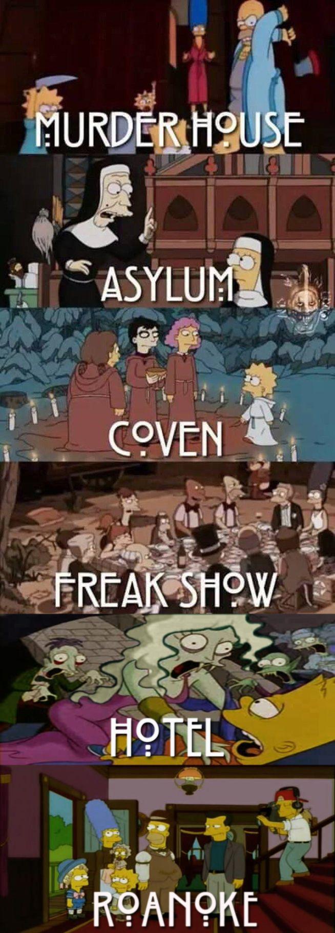 Simpsons representando cada tema da serie American Horror Story
