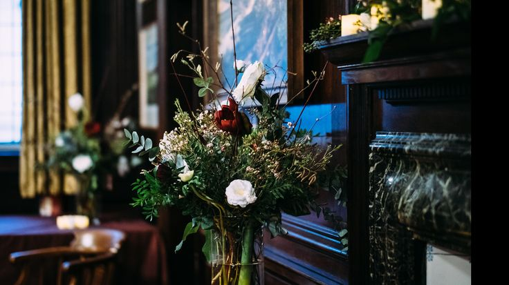 Amaryllis, Waxflower, Catkins and anenomes. Winter wedding Henley Town Hall
