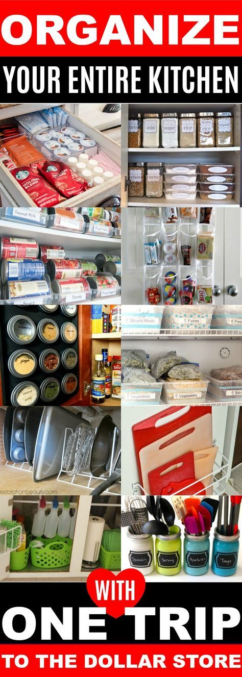 These Dollar Store organizing ideas for my kitchen are SO CREATIVE! Can't wait to try these AMAZING Dollar Store organization tips, hacks, & DIY to declutter my kitchen! Now I can organize my home on a budget! Definitely pinning!