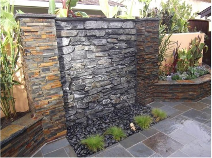 Outdoor waterfall wall garden pinterest summer for Garden waterfalls