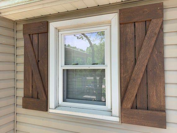 Rustic Wood Shutters Indoor Decorative Wood Shutters Outdoor Exterior Wood Shutters In 2020 Wood Shutters Cedar Shutters Farmhouse Shutters