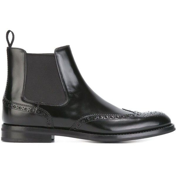 Church's Brogue Detailing Chelsea Boots ($506) ❤ liked on Polyvore featuring shoes, boots, black, genuine leather boots, brogue boots, leather boots, leather chelsea boots and black brogue boots