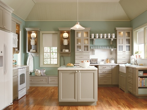 Kitchen Ideas : Decorating With White Appliances / Painted Cabinets   Kylie  M Interiors THIS Wall Color