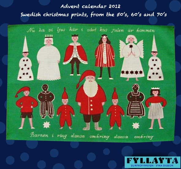 Advent-day-15,-Brit-Bredström. Showing Lucia, Santa Claus, Stjärngossar, pepparkaksgubber, ginger bread people, tomte nissar and more