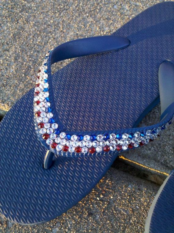 Swarovski Flip Flops  Rhinestones  Red / Crystal by TimelessAffair, $48.00  I could make these!