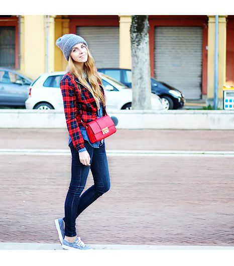 @Who What Wear - Caramode is wearing: ASOS bag, Superga sneakers.  Get The Look:  BDG Frankie Boyfriend Flannel Shirt ($39)  See more ways to wear flannel shirts on Pose.com.
