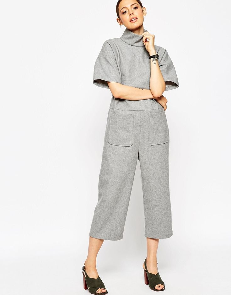 ASOS Premium Jumpsuit in Wool Mix With High Neck