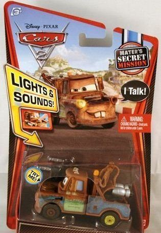 Cars 2 1:55 Lights And Sounds Spy Mater Vehicle by Mattel. $7.99. Based on characters from the new hit Disney/Pixar film - Cars 2. Headlights turn on for nighttime racing. Engines make revving noises and characters say their favorite film phrases. They?re sure to drive kids completely wild. Die-cast 1:55 scale Cars 2 vehicles. From the Manufacturer                Cars 2 1:55 Lights and Sounds Collection: Based on characters from the new hit Disney/Pixar film, Cars 2. Your favori...