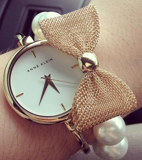 Anne Klein watch bow pearl bangle stack