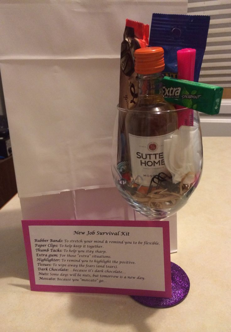 New job survival kit. I tweaked the idea a little by decorating a wine glass and using that to hold everything instead of a gift bag, makes it just a bit more personal!
