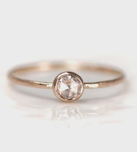 Rose Cut Diamond & Rose Gold Ring