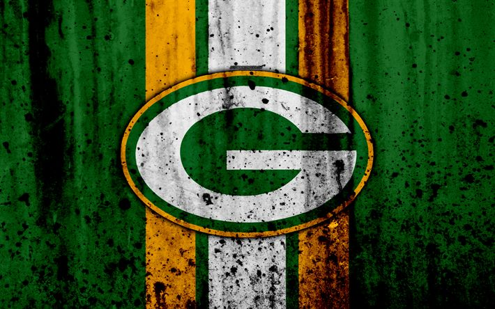 Download wallpapers 4k, Green Bay Packers, grunge, NFL, american football, NFC, logo, USA, art, stone texture, North Division