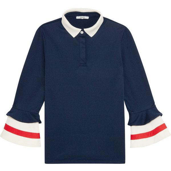 GANNI Naoki stretch-jersey polo shirt (£115) ❤ liked on Polyvore featuring tops, navy, blue polo shirts, navy polo shirts, polo shirts, blue top and ganni