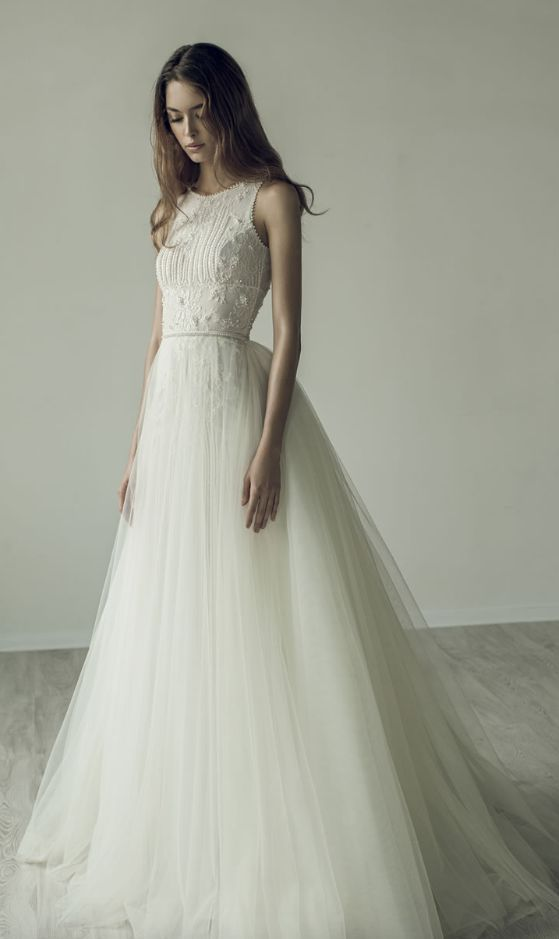 Embroidered Sleeveless Tulle Skirt Wedding Dress