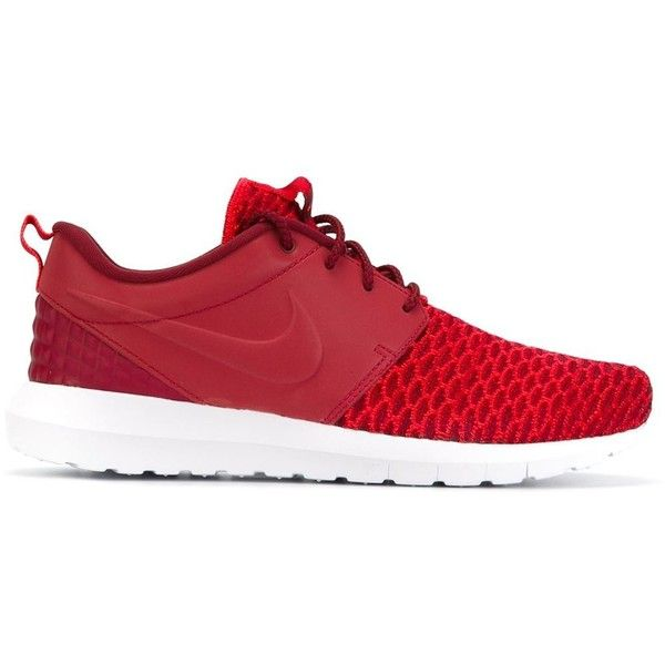 Nike Roshe One NM Flyknit Premium Sneakers ($135) ❤ liked on Polyvore featuring shoes, sneakers, red, lacing sneakers, red sneakers, nike trainers, red leather sneakers and nike shoes