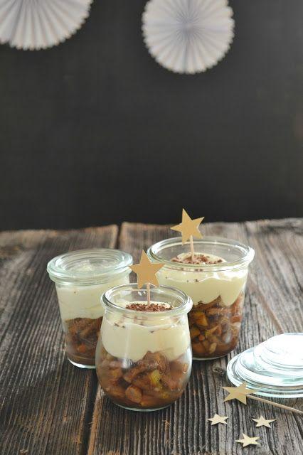 hopefray: Dessert für Weihnachten im Glas (Creme mit QuimiQ, Quark und Mascarpone, dazu eine Apfel-Rum-Nuss Mischung mit Gewürzen) Christmas Dessert