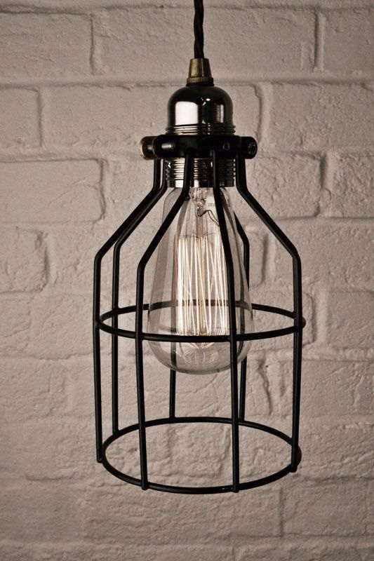 Vintage industrial steampunk black wire cage lamp shade / guard, made from Iron, can be used as pendant or table lamp Retro Hub