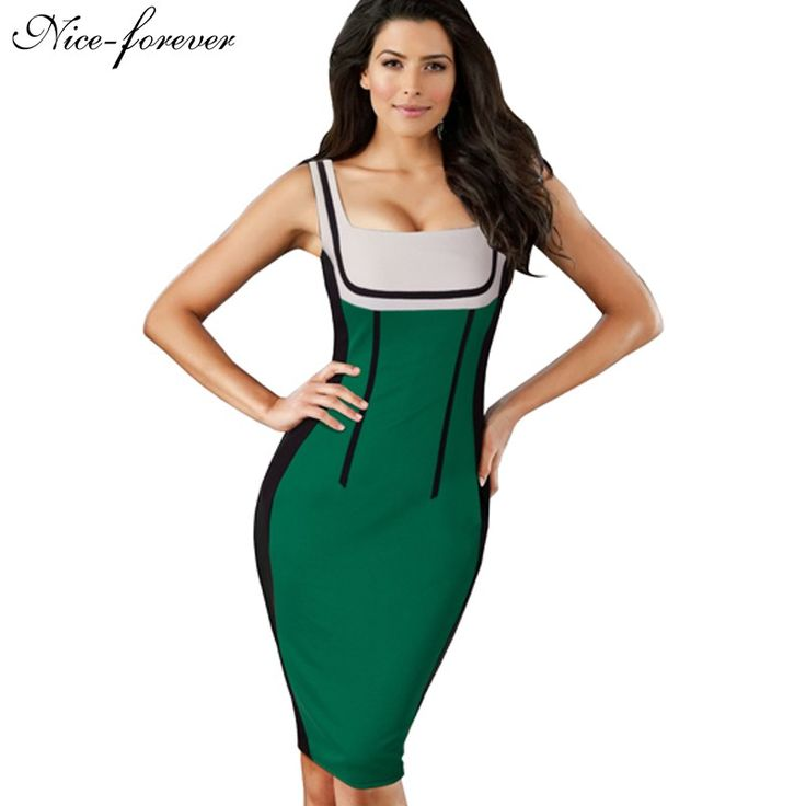 Aliexpress.com : Buy Nice forever Patchwork spaghetti Strap Fashion dresses Women Summer Optical Illusion Pinup bodycon Club wear Pencil Dress 746 from Reliable pencil set suppliers on NICE-FOREVER Official Store