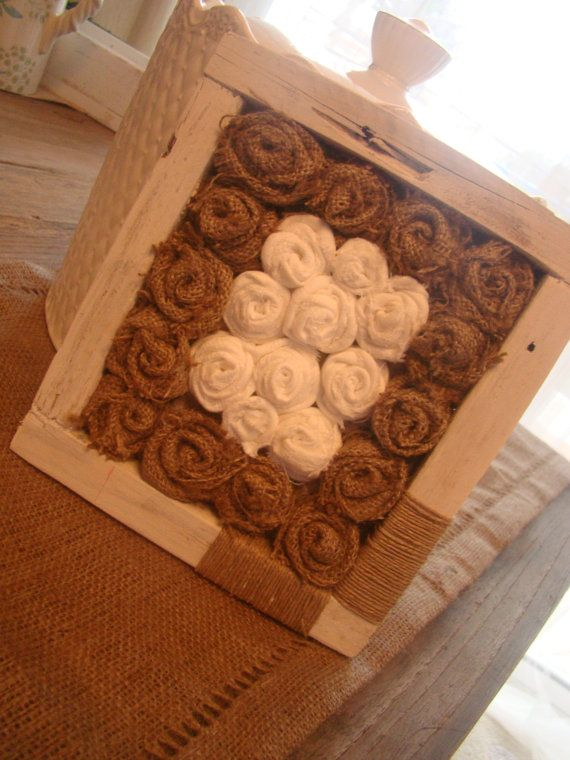 handmade wood frame with  burlap by demetradaskoupo on Etsy