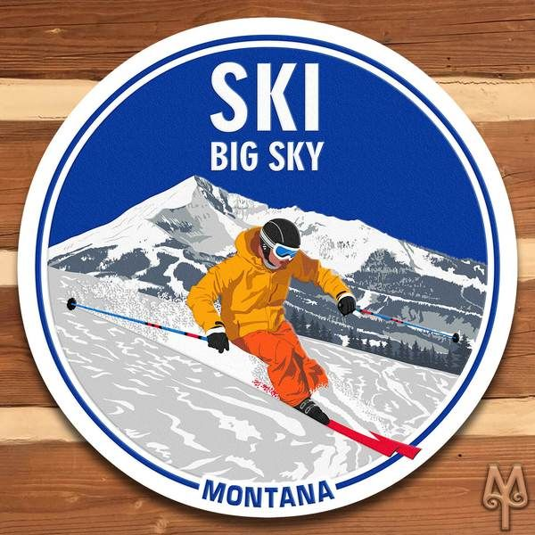 Add this decorative, metal wall sign to your home or cabin; and, show everyone that you love to ski Big Sky, Montana. A decorative wall sign made using heavy gauge American steel and a process known as sublimation, where the image is baked into a powder coating for a durable and long lasting finish. 14 inch diameter signs have one 3/16inch top mounting hole. 28, 36, and 42 inch diameter signs have four3/16 inch holes at 90 degree intervals. Designed in Montana. Made in the USA. M...