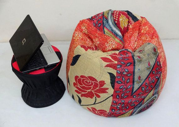 Handmade cotton Slipcover and insert Floral Bean Bag Chair ,Home Decor Round…