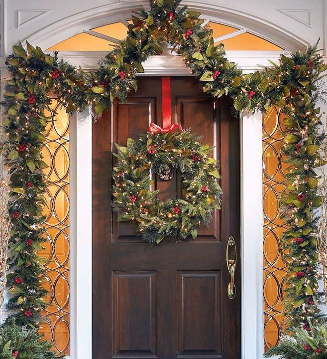 Flank a fireplace or front door, or hang the wreaths on pillars — they're ideal for any slim space in need of some holiday color.