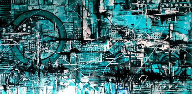 "De Flo Nr.215.Abstracta painting [Turquoise Nr 17]- D-[100x50] Pictura abstracta lucrari originale De Flo ""The painting has a life of its own. I try to let it come through""     -Jackson Pollock-"