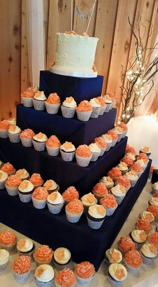 Coral and Navy wedding cupcake tower