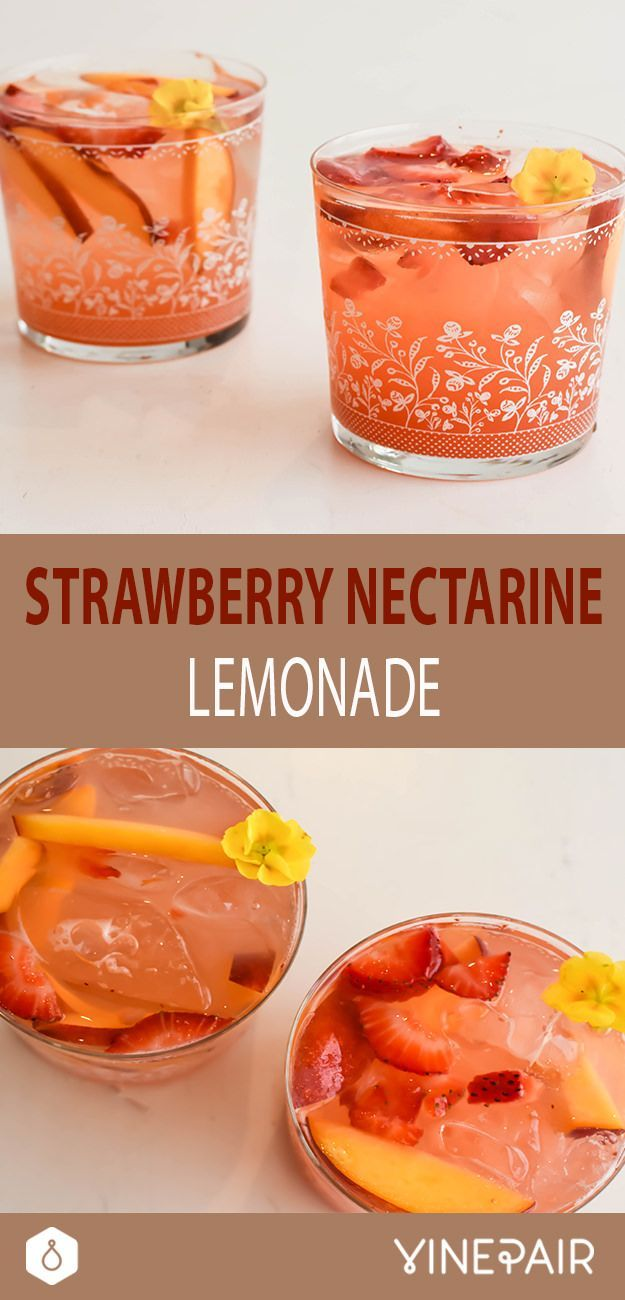 Fruity, delicious, and spiked! Try our nectarine + strawberry lemonade cocktail.