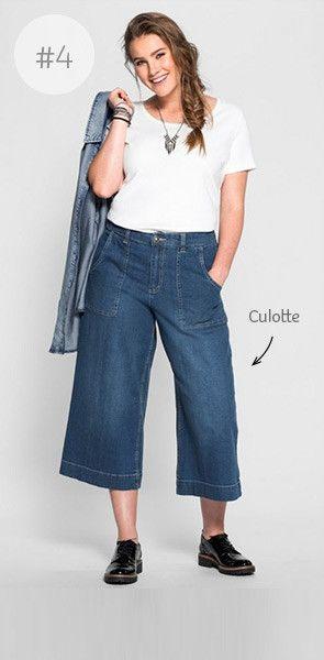 Denim Special - aktuelle Jeansmode für Plus Size Frauen | sheego | Jeans Culotte | Used-Look |  Stretch-elastische Qualität