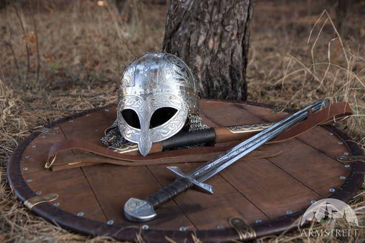 Viking Combat Helmet Etched Stainless
