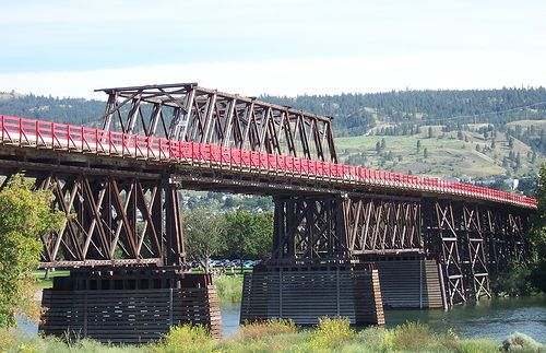 Red Bridge, Kamloops BC. It really is RED, and fabulous, but a teensy bit narrow, but used 24/7.