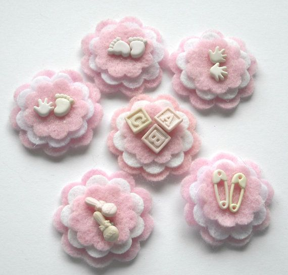 Felt Flower Embellishments Pink and White with Baby by Paperika, $6.00