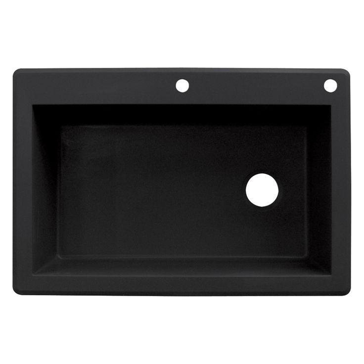 Transolid Radius 22-in x 33-in Black Single-Basin Granite Drop-In 2-Hole Residential Kitchen Sink