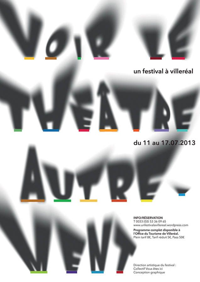 Watching theater differently - shadows casting letters - poster designed by Yuan Tian, for Un festival a Villereal - selected finalist of the biennial of student poster