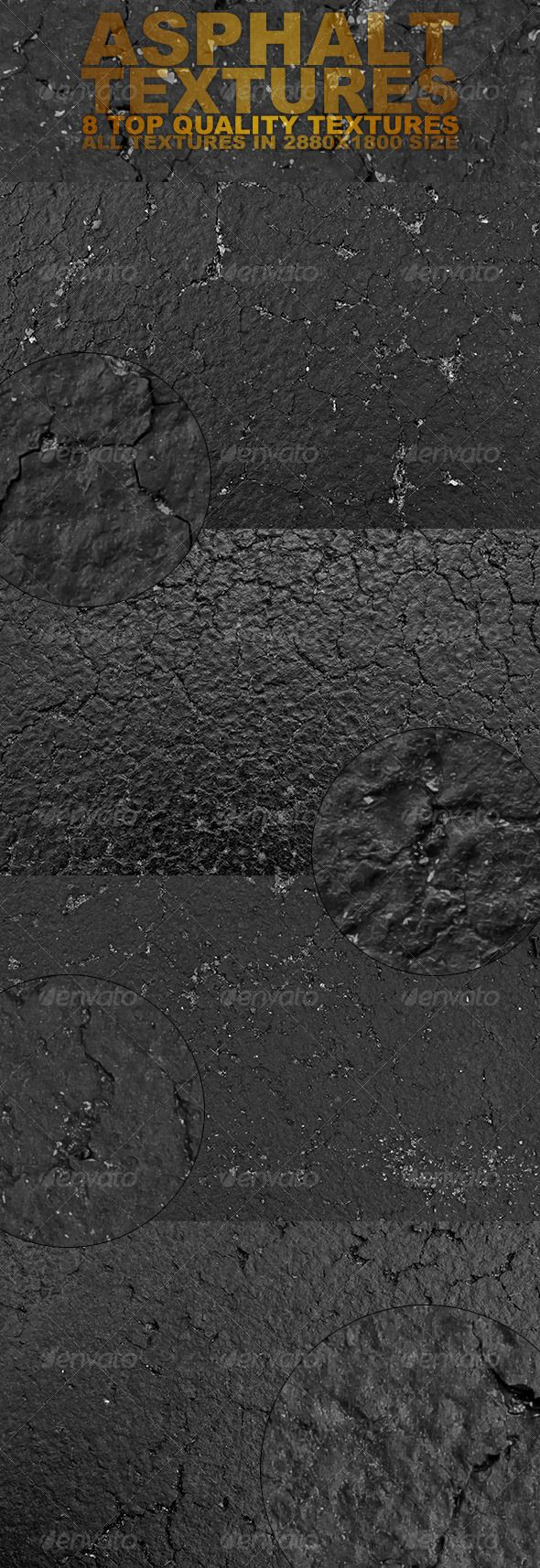 Black Asphalt Textures — Photoshop PSD #asphalt #high quality textures • Available here → https://graphicriver.net/item/black-asphalt-textures/2813211?ref=pxcr
