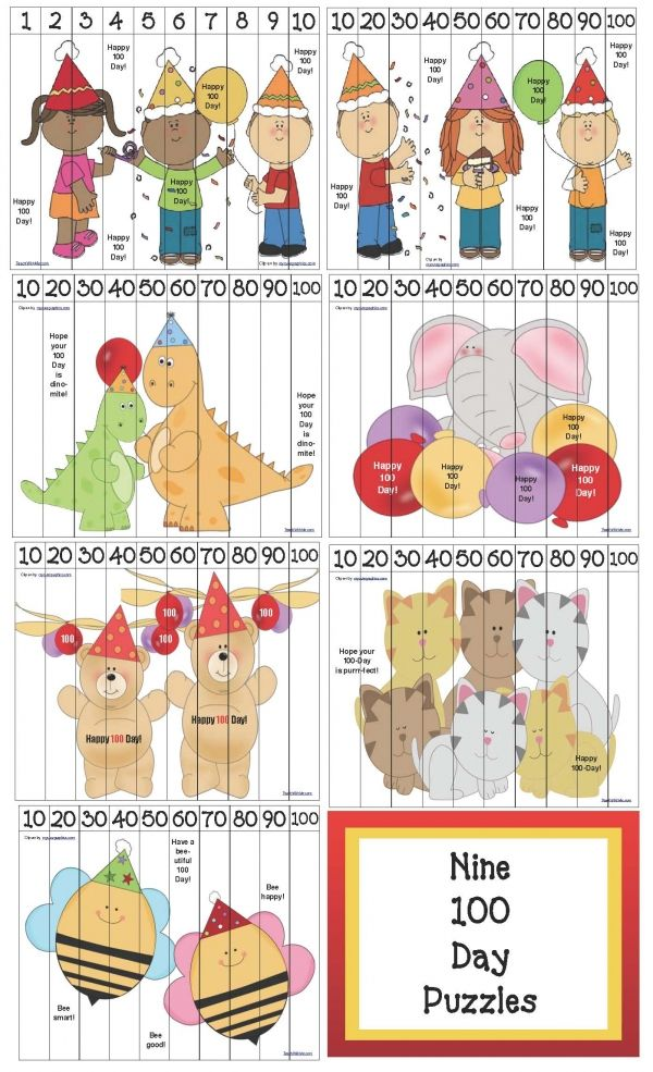 100 Day activities: Nine FREE 100 Day Puzzles. :-)