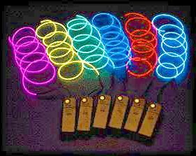 Portable EL (electro-luminescent) Light Up Wire for Tron costume -Electro costume, inside hoodie