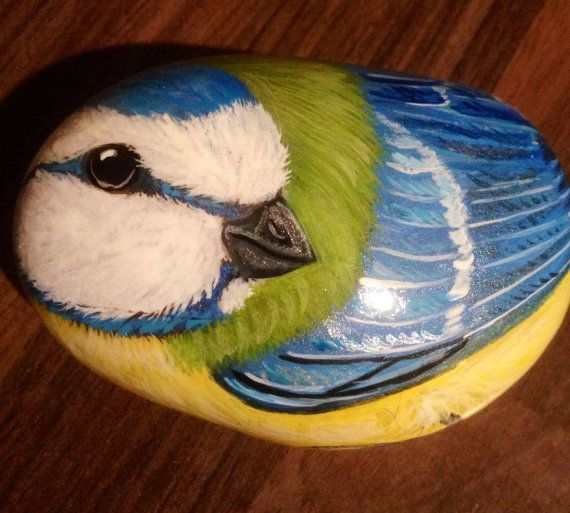 Hand painted rock bluetit by Cobblecreatures on Etsy, £11.00