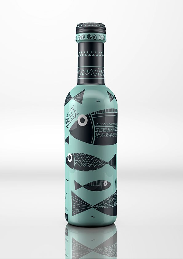 this bottle has a very unique wrap going around the entire bottle which looks great with how the teal and black match. the fish make the bottle very playful