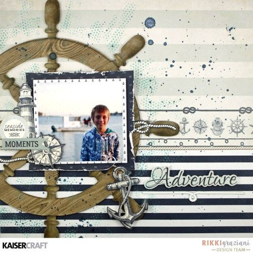 'Adventure' layout by Rikki Graziani Design Team member for Kaisercraft using their 'High Tide' collection (December 2016) - saved from kaisercraft.com.au/blog - Wendy Schultz - Scrapbook Layouts