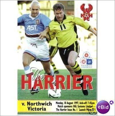 Kidderminster Harriers v Northwich Vic' 18/08/1997 Non League Football Programme