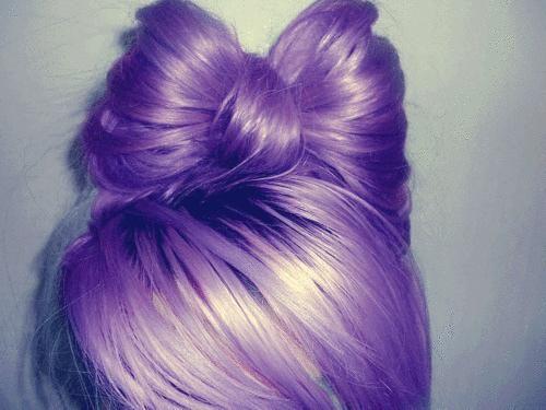 purple hair bowHairbows, Purple Hair, Hairstyles, Hair Colors, Bows Buns, Long Hair, Purplehair, Hair Style, Hair Bows